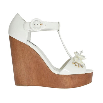 Dolce & Gabbana - White Leather Crystal Embellished Wedges | Londress
