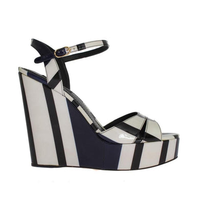 Dolce & Gabbana - Black & White Striped Leather Wedges | Londress