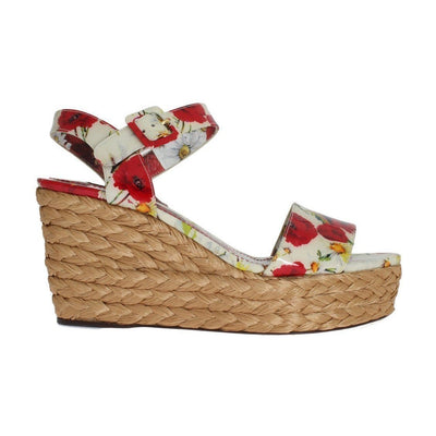 Dolce & Gabbana - Floral Leather & Straw Wedges | Londress