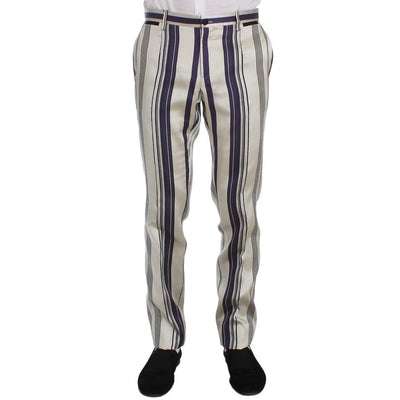 Dolce & Gabbana - White Purple Striped Stretch Pants, Londress