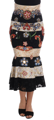 Dolce & Gabbana - Crystal Carretto Black Gold Lace Skirt, Londress
