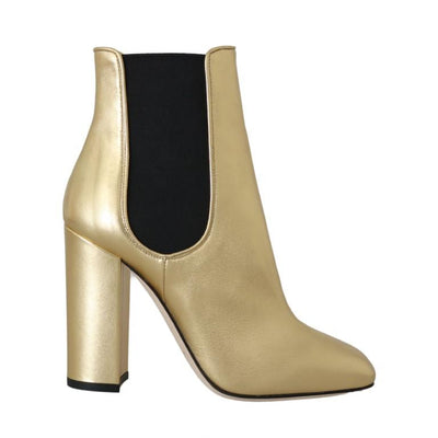 Dolce & Gabbana - Gold Leather Heels Chelsea Boots, Londress
