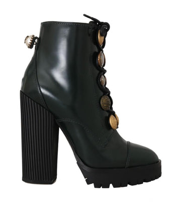 Dolce & Gabbana - Green Leather DG Logo Ankle Boots