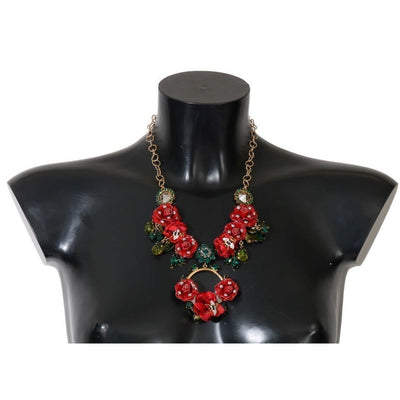 Dolce & Gabbana - Red & Gold Floral Crystal Necklace