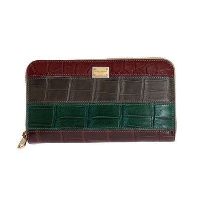 Dolce & Gabbana - Multicolor Leather Crocodile Skin Continental Wallet, Londress