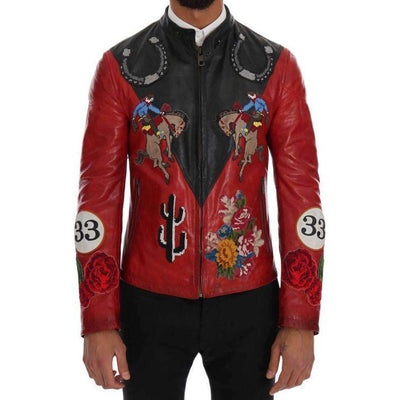 Dolce & Gabbana - Black Red Leather Cowboy Embroidered Jacket | Londress