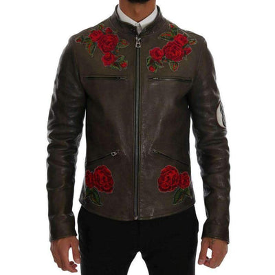 Dolce & Gabbana - Green Leather Roses Embroidered Jacket | Londress