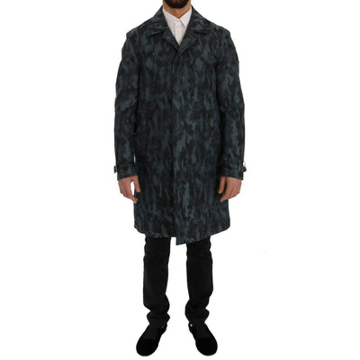 Dolce & Gabbana - Blue Camouflage Trench Coat | Londress