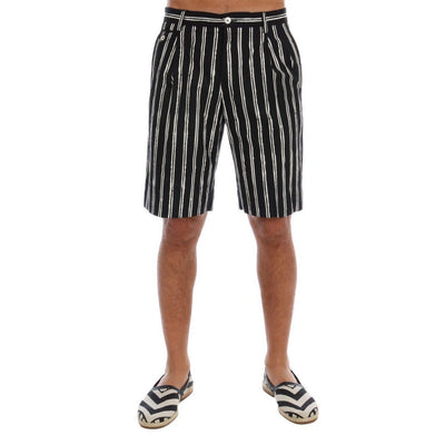 Dolce & Gabbana - White Black Striped Cotton Shorts, Londress