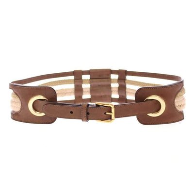 Dolce & Gabbana - Brown Leather & Straw Belt, Londress