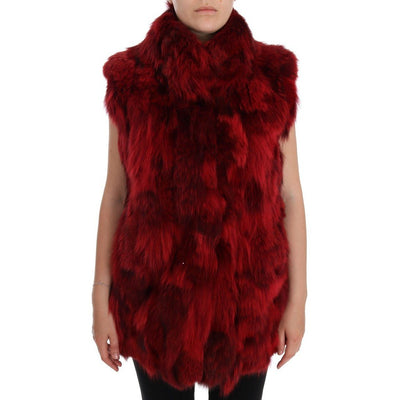 Dolce & Gabbana - Red Coyote Fur Sleeveless Coat
