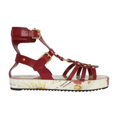 Dolce & Gabbana - Red Leather Gladiator Sandals | Londress