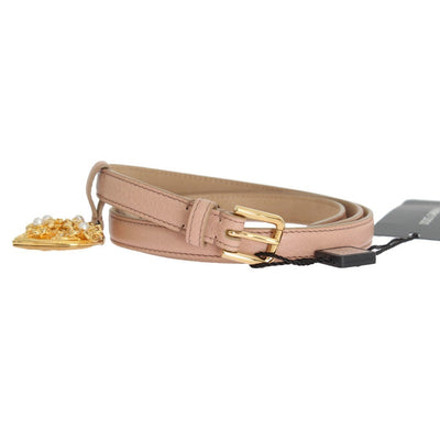 Dolce & Gabbana - Beige Leather MAMMA Gold Heart Belt, Londress