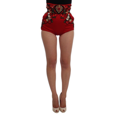Dolce & Gabbana - Red Silk Crystal Embellished Shorts, Londress
