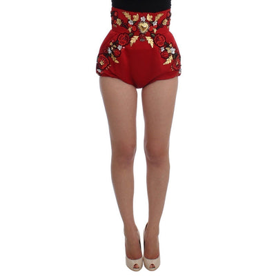 Dolce & Gabbana - Red Silk Crystal Roses Shorts, Londress