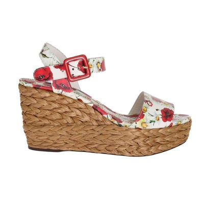 Dolce & Gabbana - Floral Leather & Straw Wedges
