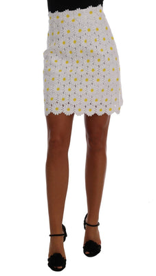 Dolce & Gabbana - White Daisy Embroidered Lace Skirt, Londress