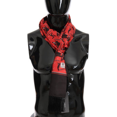 Dolce & Gabbana - Red Silk Music Print Scarf, Londress