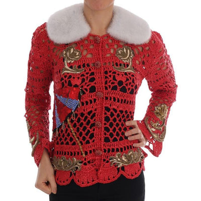 Dolce & Gabbana - Red Fairy Tale Fur Crystal Cardigan Sweater, Londress