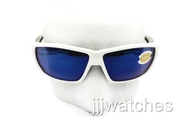 3bb40bf33bae4 New Costa Del Mar TUNA ALLEY Polished White Blue Polarized Sunglasses TA 25  OBMP