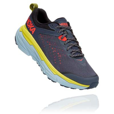 A Hoka men's Challenger ATR 6 running shoe that is blue, yellow, and grey