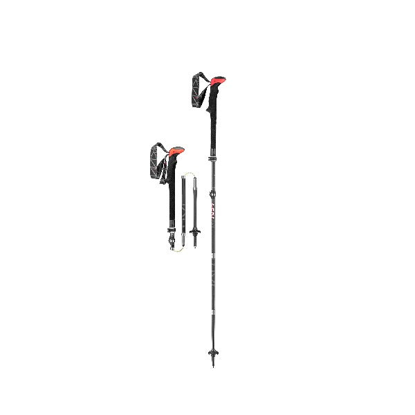 Optimized for lightweight durability and collapsibility, LEKI Micro Vario Carbon trekking poles are designed to perform on par with the most rugged of backpackers. The grip is black and red