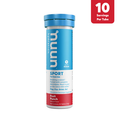 A white plastic tube with a blue cap, a blue white and pink label holding the nuun drink tabs on a white background.