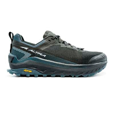 A black, low-top, lace-up, Men's trail running shoe on a white background.