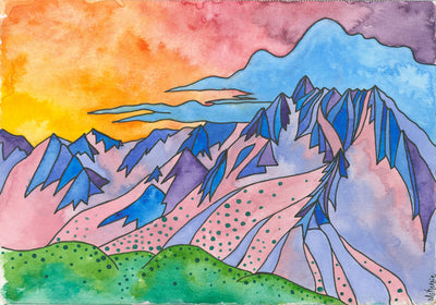 A water color painting of the mountains. the sky is yellow, red and purple, with blue clouds over top of the purple, blue and pink mountain range, sitting above a green valley floor.