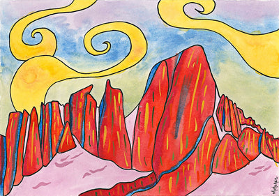 Water color painting of Mt. Whitney. A red mountain rang with blue and green skies and yellow swirling clouds.