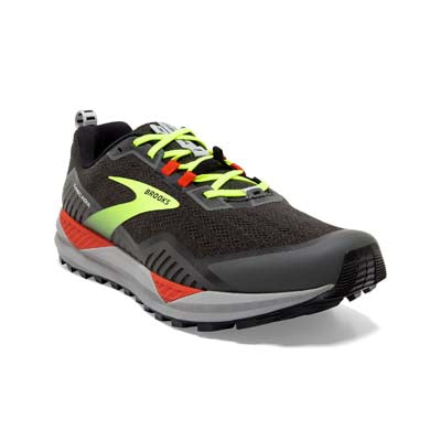 Brooks Cascadia 15 Men's Trail Running Shoe. Color is Ebony/Silver/Deep Colbalt