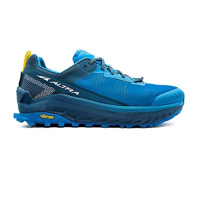 An all blue, low-top, men's trail running shoe, on a white background.