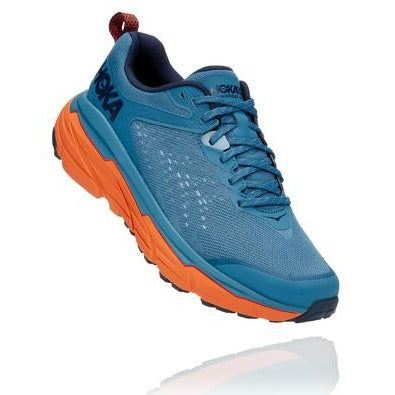 An Altra men's CHallenger ATR 6 running shoe that is blue with an orange sole
