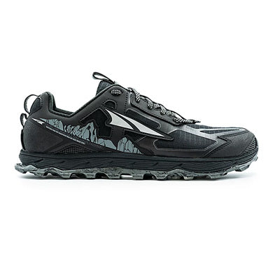 A black, low-top, lace-up, men's all mountain running shoe, with gray soles, on a white background.