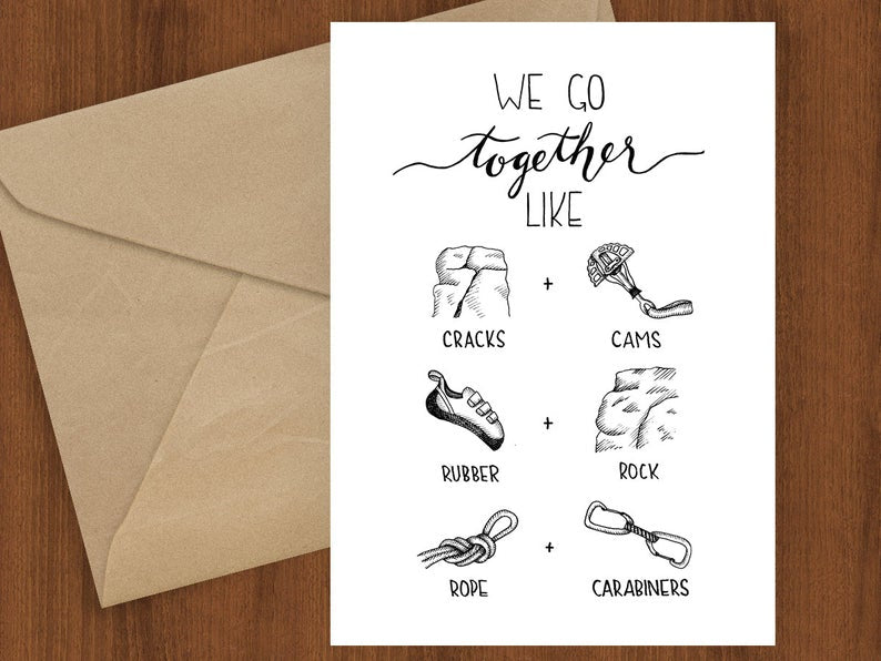 Rock Climbing Together Greeting Card