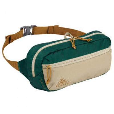 A Kelty Sunny waist pack that is green and tan