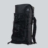 A black backpack with a large black mesh pocket