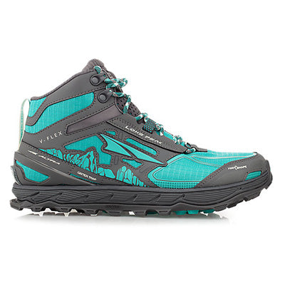 A teal and grey, mid-top, women's trail running shoe, with a grey sole, on a white background.