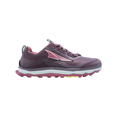 An Altra Women's Lone Peak 5 trail running shoe that is red