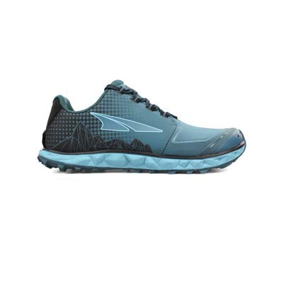 A light blue, low-top, lace-up, women's trail running shoe, with a blue sole, on a white background.