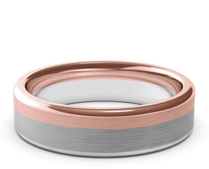 two tone gold, rose gold, white gold, brushed finish, modern ring, mens, womens, custom made, 6mm ring