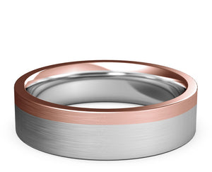 wedding ring, white gold, rose gold, two-tone, flat ring, mens, womens, modern ring
