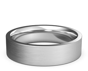 flat edge ring, brushed finish, white gold, comfort fit, 6mm