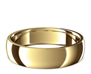 curved ring, domed, ring, classic ring, wedding band, yellow gold, polished gold, mens, womens