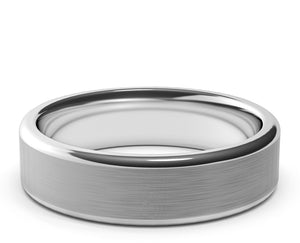 white gold wedding ring, flat round ring, rounded edges, brushed finish, mens womens