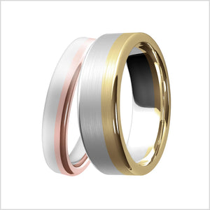 wedding ring, two-tone gold, gold, yellow gold, rose, gold, white gold, classic style, comfort fit, mens, womens