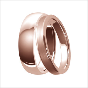 rose gold, ring, womens, wedding band, modern style, comfort fit, mens, polished gold, brushed finish