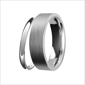 white gold, wedding ring, mens, womens, wedding band, comfort fit, modern style, d curve, curved ring