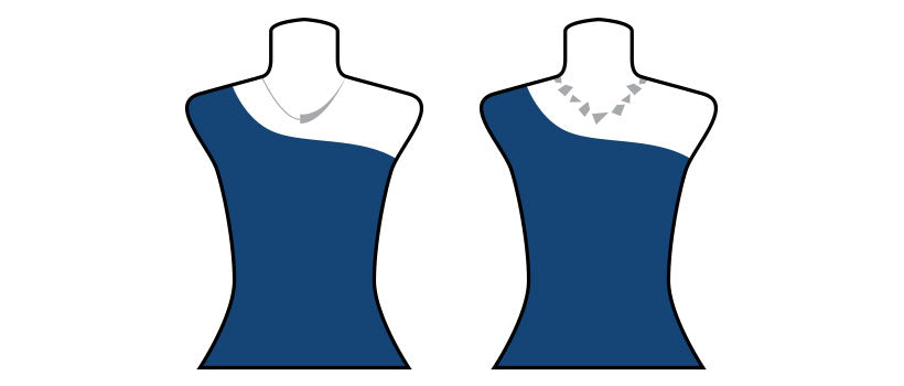 Necklace styles for one shoulder or off the shoulder top or dress.
