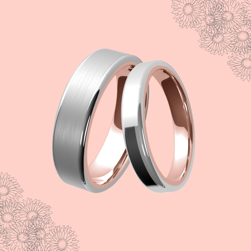 White Gold and Rose Gold Sleeved Wedding Ring